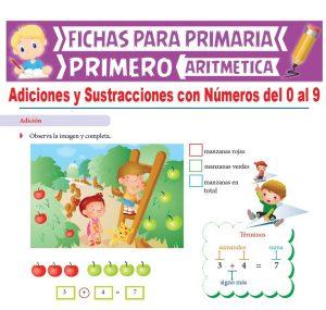 Ficha de Adiciones y Sustracciones con Números del 0 al 9 para Primero de Primaria