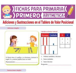 Ficha de Adiciones y Sustracciones en el Tablero de Valor Posicional para Primer Grado de Primaria