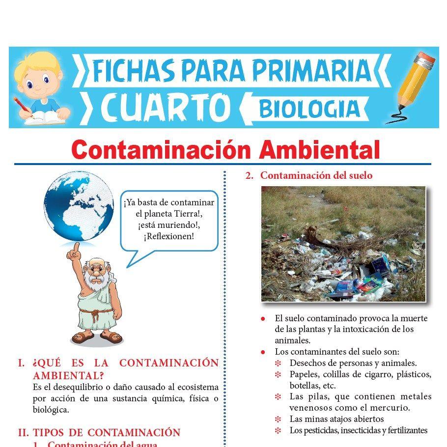 Ficha de Contaminación Ambiental para Cuarto Grado de Primaria