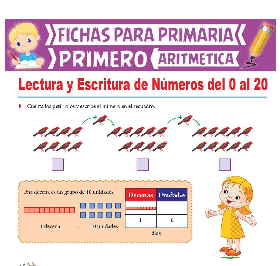 Ficha de Lectura y Escritura de Números del 0 al 20 para Primer Grado de Primaria