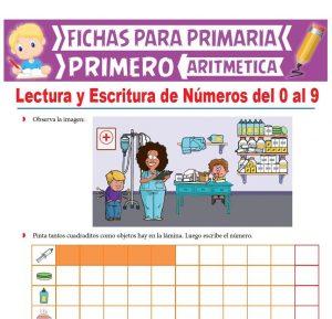 Ficha de Lectura y Escritura de Números del 0 al 9 para Primero de Primaria