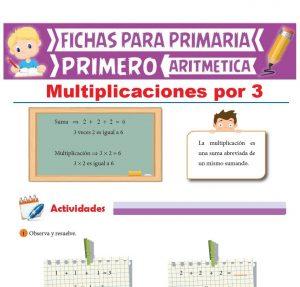 Ficha de Multiplicaciones por 3 para Primer Grado de Primaria