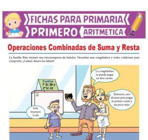 Ficha de Operaciones Combinadas de Suma y Resta para Primer Grado de Primaria