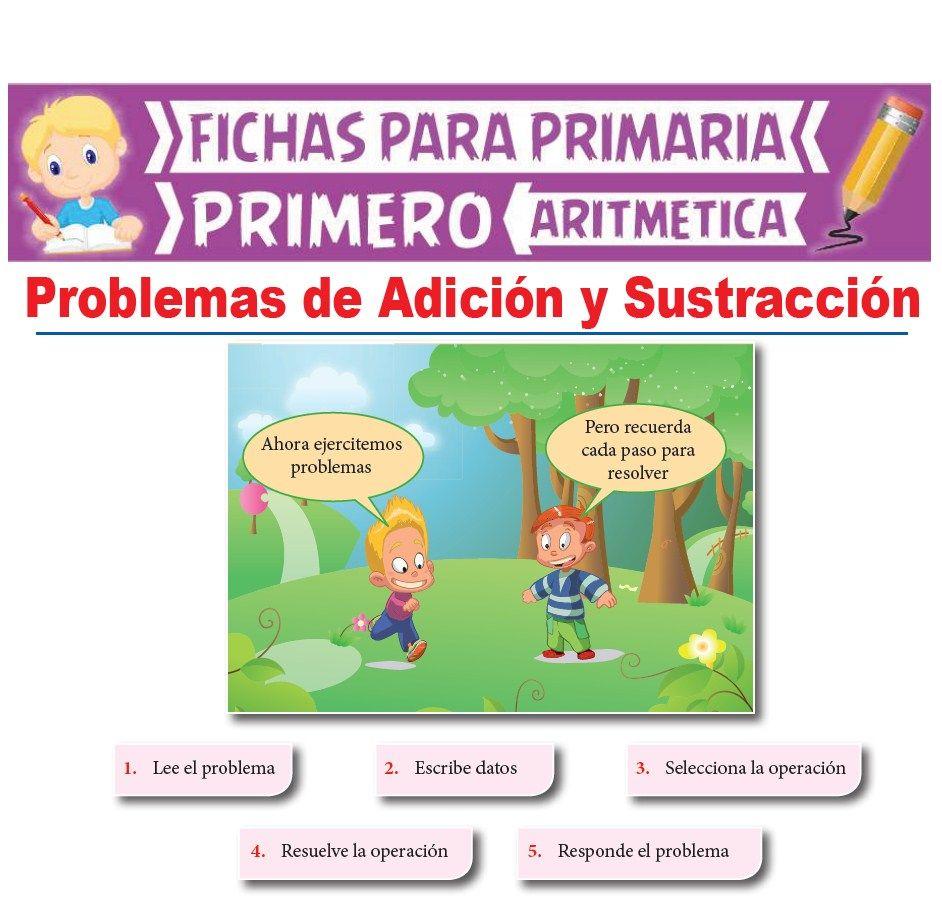 Ficha de Problemas de Adición y Sustracción para Primer Grado de Primaria