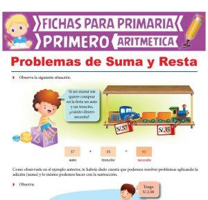 Ficha de Problemas de Suma y Resta para Primer Grado de Primaria