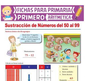 Ficha de Sustracción de Números del 50 al 99 para Primer Grado de Primaria