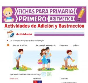 Ficha de Actividades de Adición y Sustracción para Primer Grado de Primaria