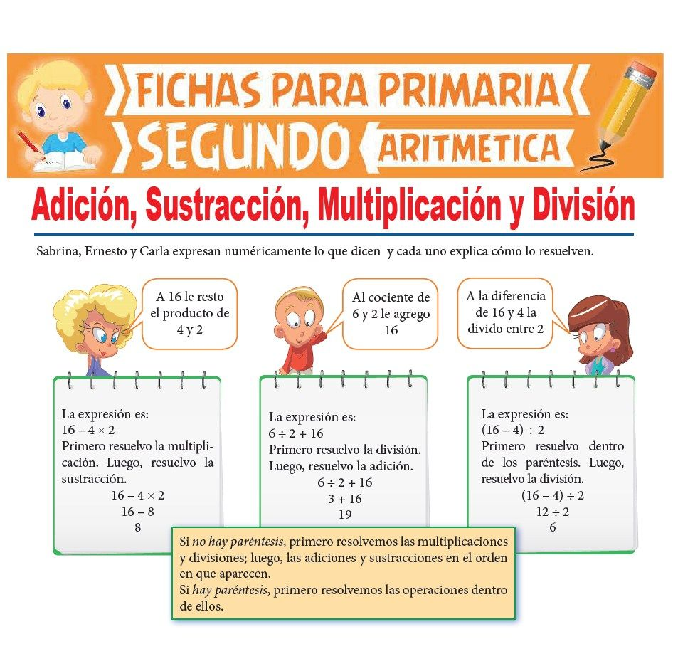 Ficha de Adición, Sustracción, Multiplicación y División para Segundo Grado de Primaria