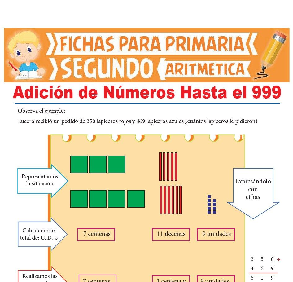 Ficha de Adición de Números Hasta el 999 para Segundo Grado de Primaria