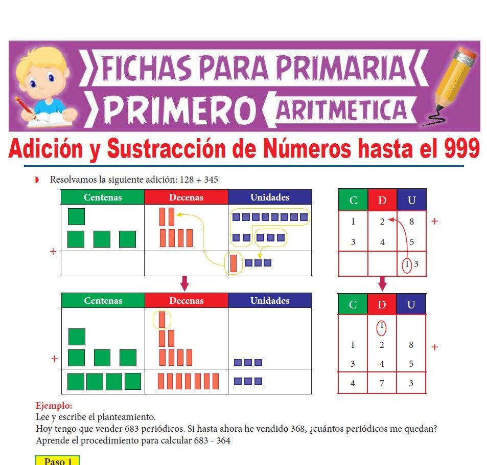 Ficha de Adición y Sustracción de Números hasta el 999 para Primer Grado de Primaria