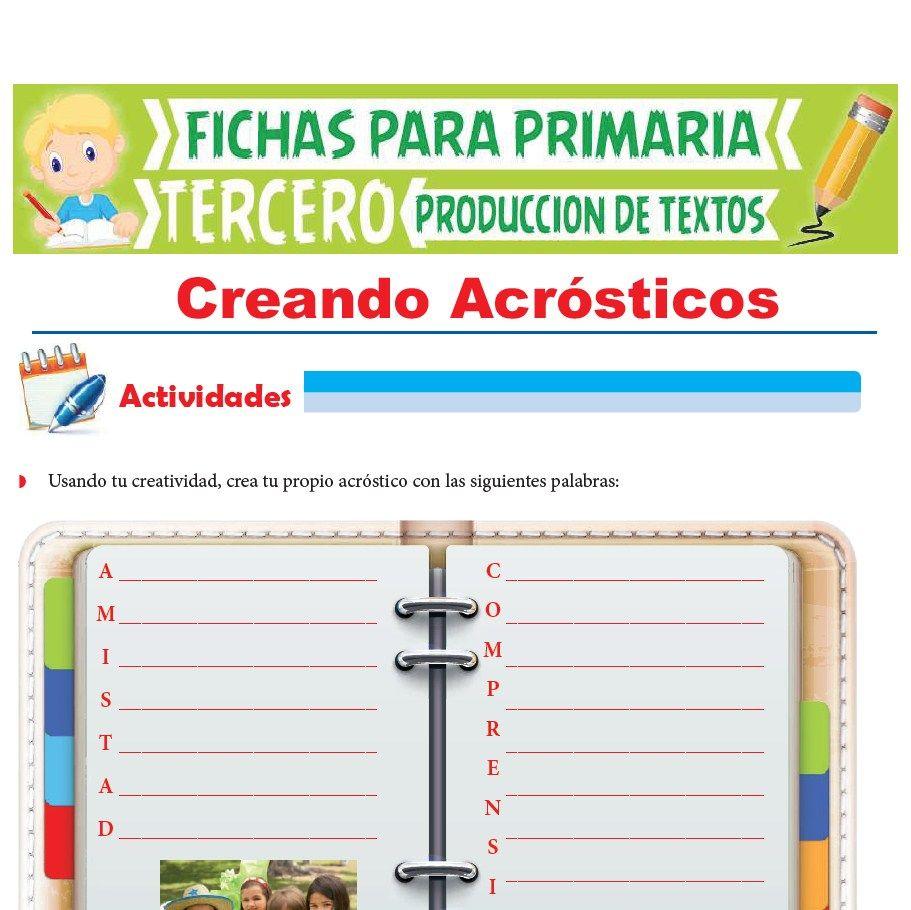 Ficha de Creando Acrósticos para Tercer Grado de Primaria