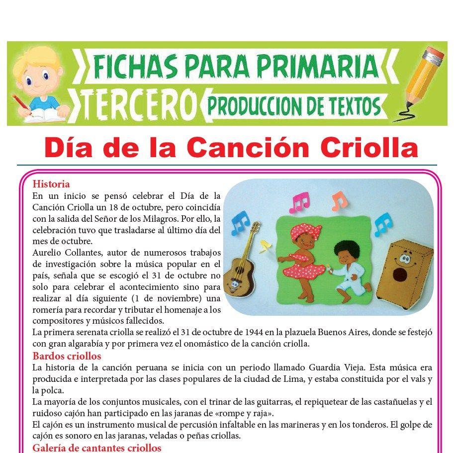 Ficha de Día de la Canción Criolla para Tercer Grado de Primaria