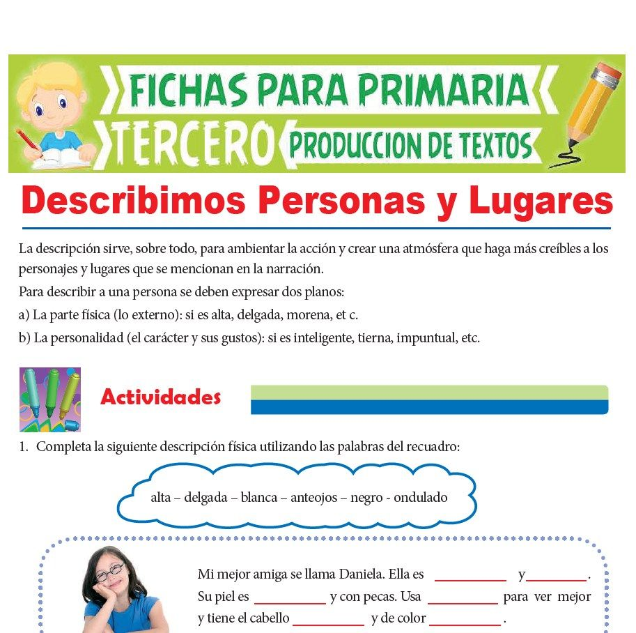 Ficha de Descripción de Personas y Lugares para Tercer Grado de Primaria