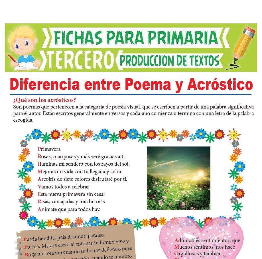Ficha de Diferencia entre Poema y Acróstico para Tercer Grado de Primaria