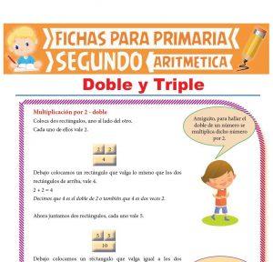 Ficha de Doble y Triple para Segundo Grado de Primaria