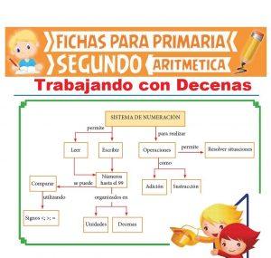 Ficha de Ejercicios con Decenas para Segundo Grado de Primaria