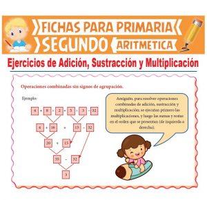 Ficha de Ejercicios de Adición Sustracción y Multiplicación para Segundo Grado de Primaria