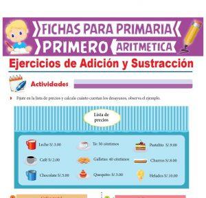 Ficha de Ejercicios de Adición y Sustracción para Primer Grado de Primaria