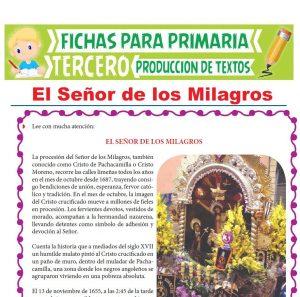 Ficha de El Señor de los Milagros para Tercer Grado de Primaria
