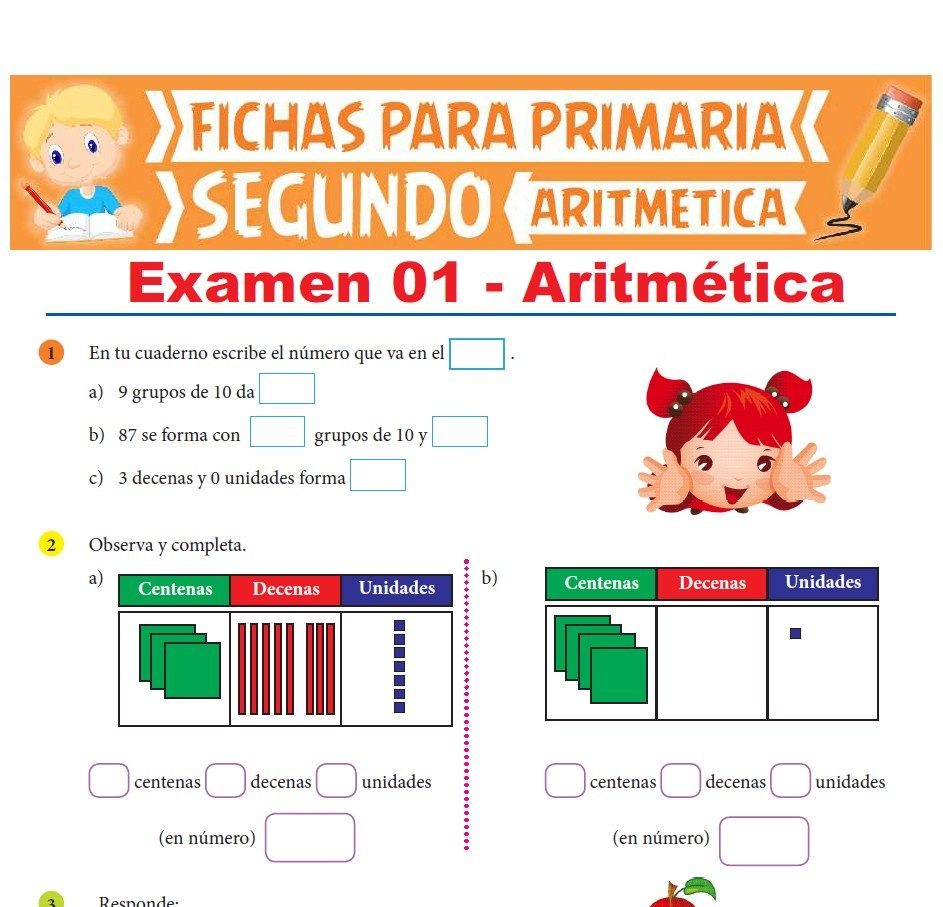 Ficha de Evaluación de Aritmética para Segundo Grado de Primaria