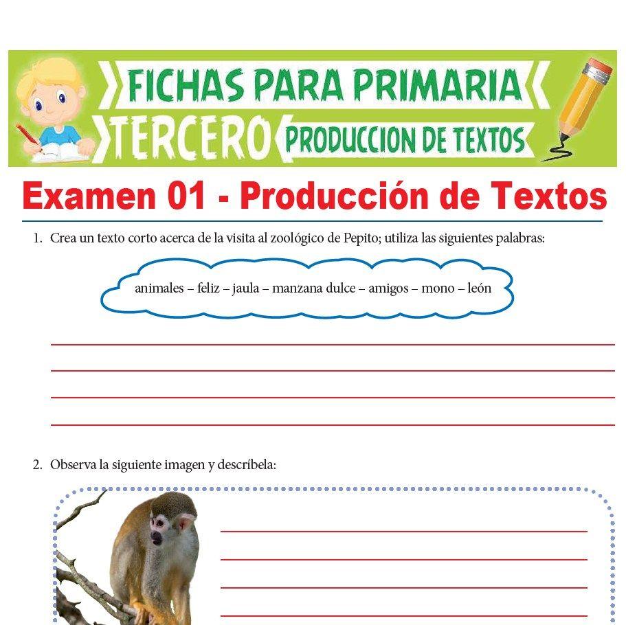 Ficha del Exámen de Aritmética para Tercer Grado de Primaria