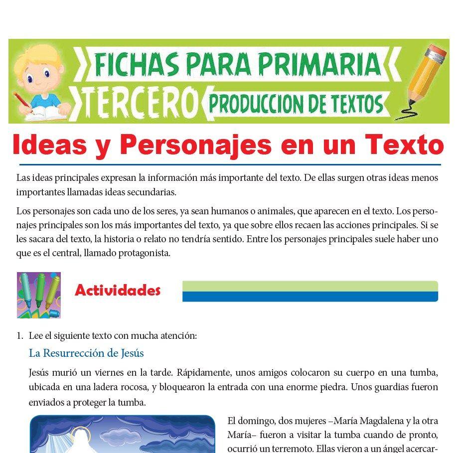 Ficha de Ideas y Personajes en un Texto para Tercer Grado de Primaria