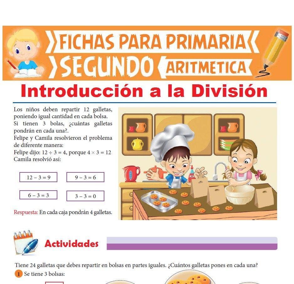 Ficha de Introducción a la división para Segundo Grado de Primaria