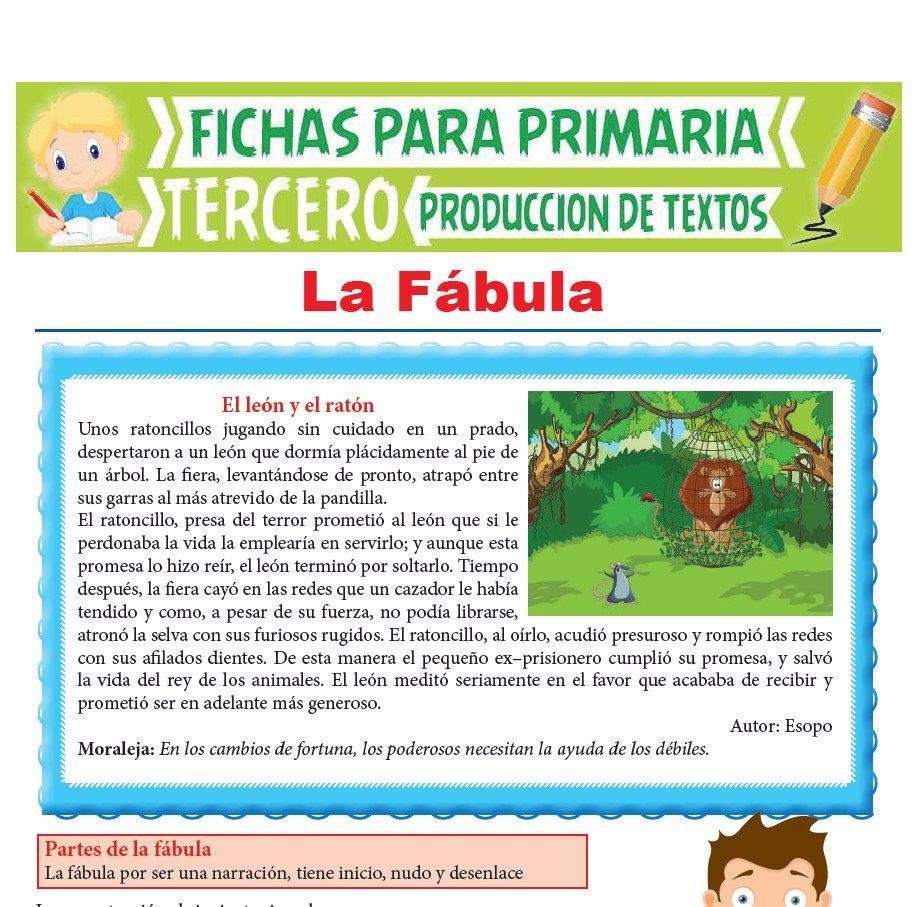 Ficha de La Fábula para Tercer Grado de Primaria