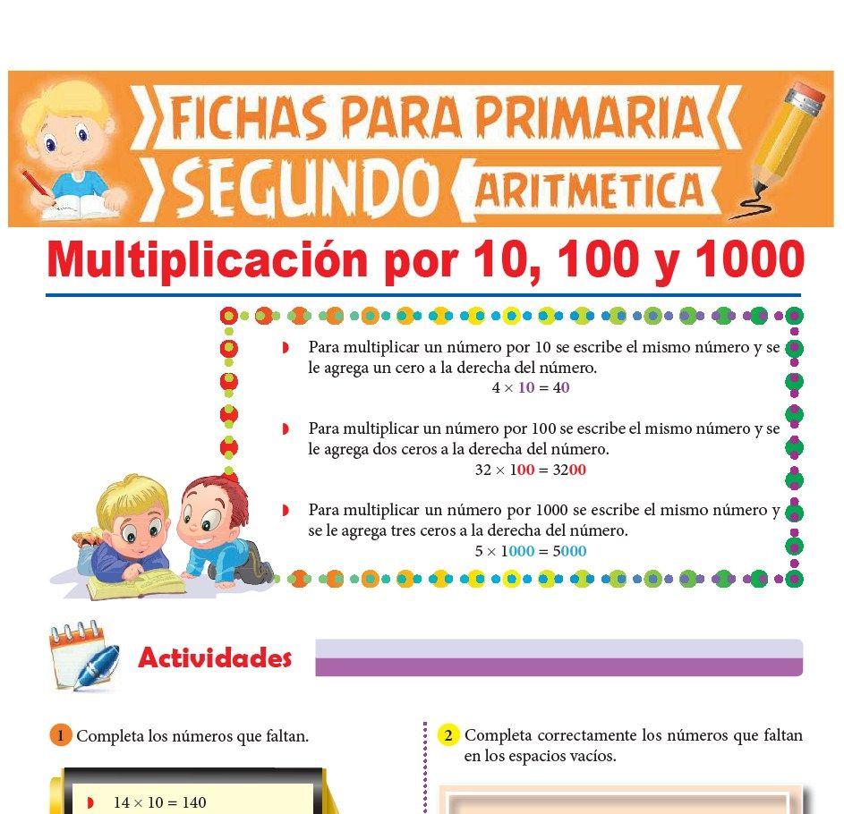 Ficha de Multiplicación por 10 100 y 1000 para Segundo Grado de Primaria