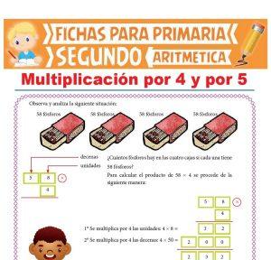 Ficha de Multiplicación por 4 y por 5 para Segundo Grado de Primaria