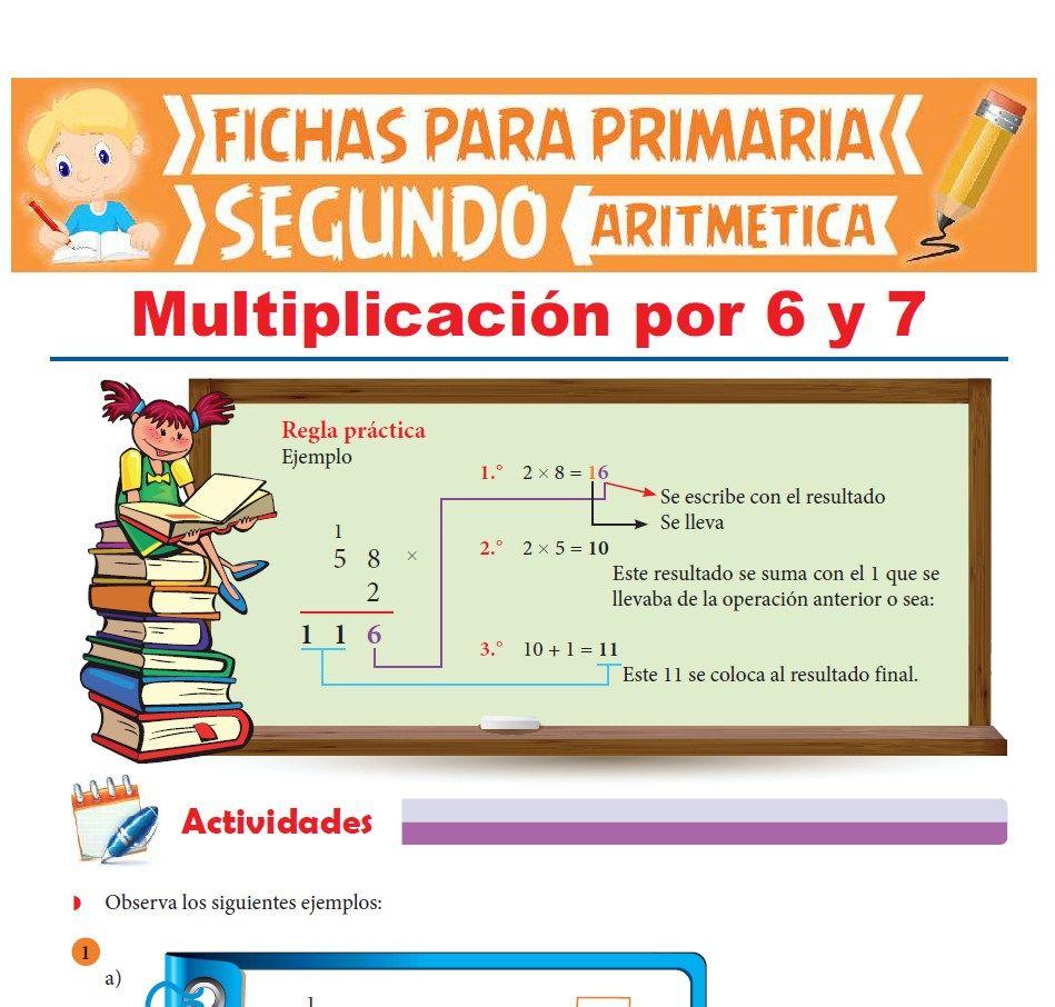 Ficha de Multiplicación por 6 y 7 para Segundo Grado de Primaria