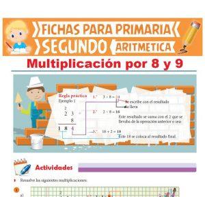 Ficha de Multiplicación por 8 y 9 para Segundo Grado de Primaria