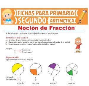 Ficha de Noción de Fracción para Segundo Grado de Primaria