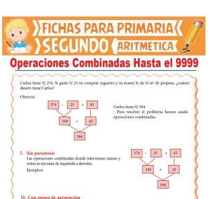Ficha de Operaciones Combinadas Hasta el 9999 para Segundo Grado de Primaria