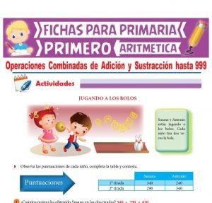 Ficha de Operaciones Combinadas de Adición y Sustracción para Primer Grado de Primaria