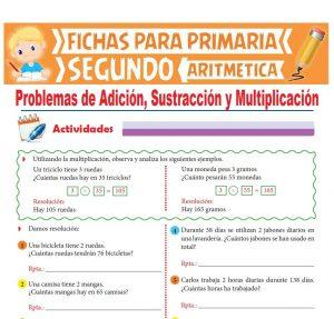 Ficha de Problemas de Adición Sustracción y Multiplicación para Segundo Grado de Primaria