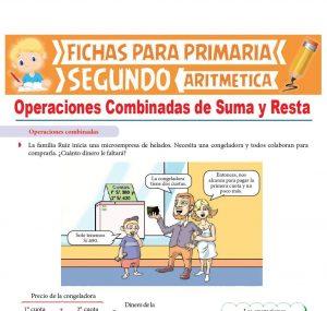 Ficha de Problemas de Operaciones Combinadas de Suma y Resta para Segundo Grado de Primaria