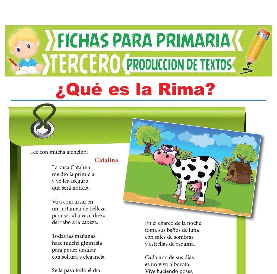 Ficha de Qué es la Rima para Tercer Grado de Primaria