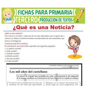 Ficha de Qué es una Noticia para Tercer Grado de Primaria
