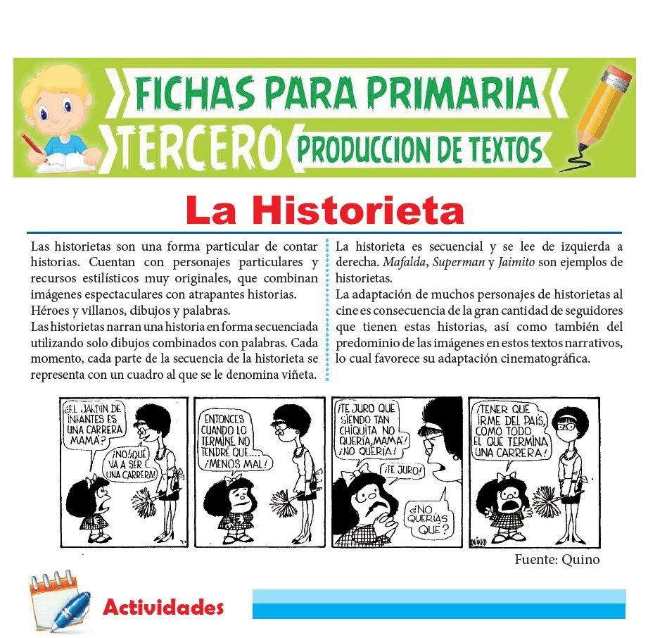 Ficha de Que es la Historieta para Tercer Grado de Primaria