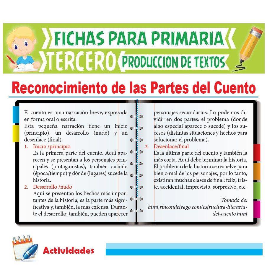 Ficha de Reconocimiento de las Partes del Cuento para Tercer Grado de Primaria