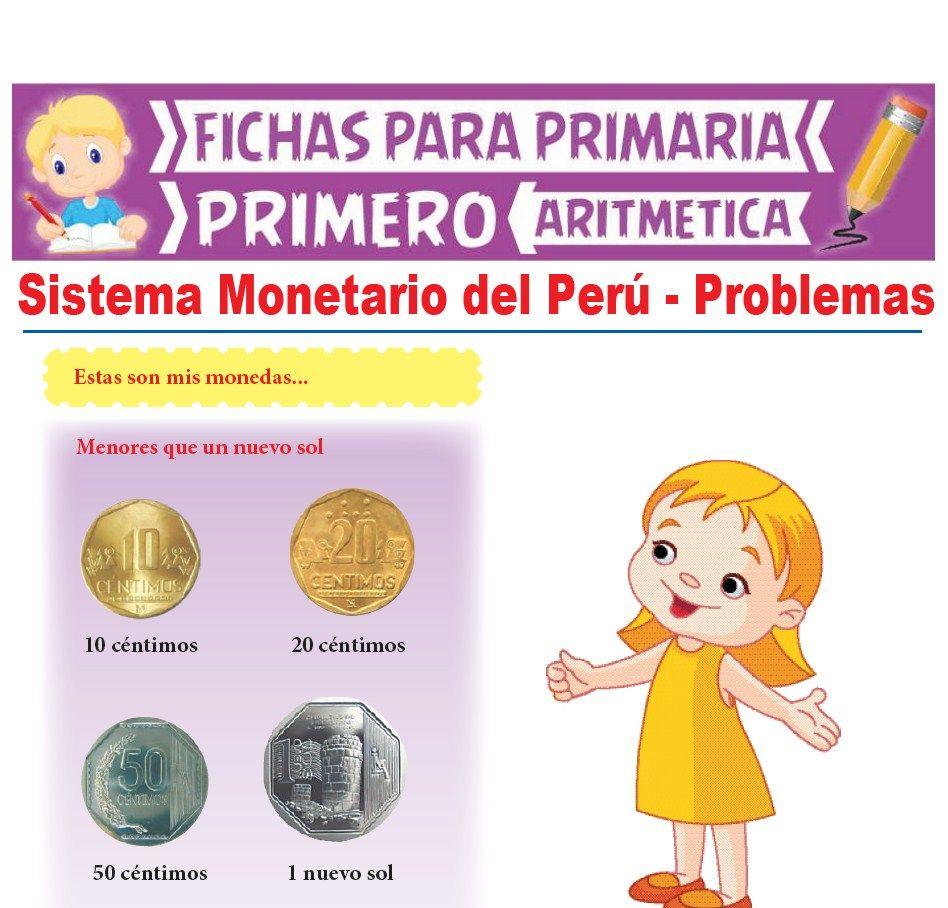 Ficha de Sistema Monetario del Perú para Primer Grado de Primaria