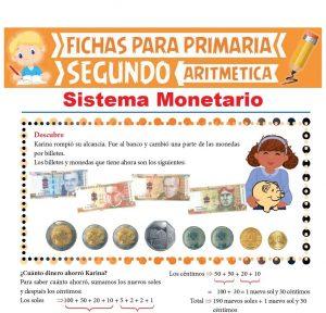 Ficha de Sistema Monetario para Segundo Grado de Primaria