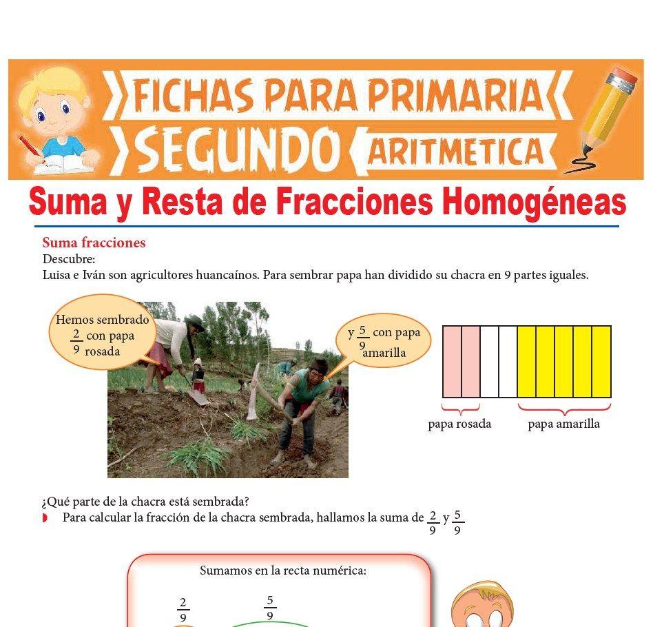 Ficha de Suma y Resta de Fracciones Homogéneas para Segundo Grado de Primaria