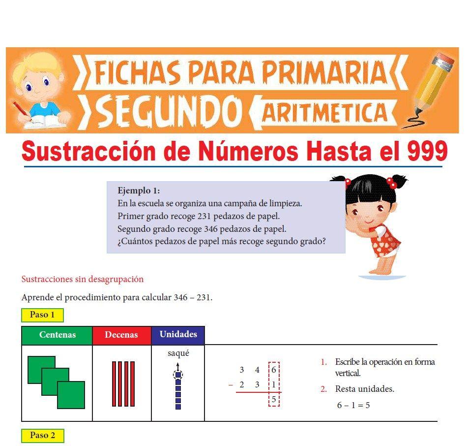 Ficha de Sustracción de Números Hasta el 999 para Segundo Grado de Primaria
