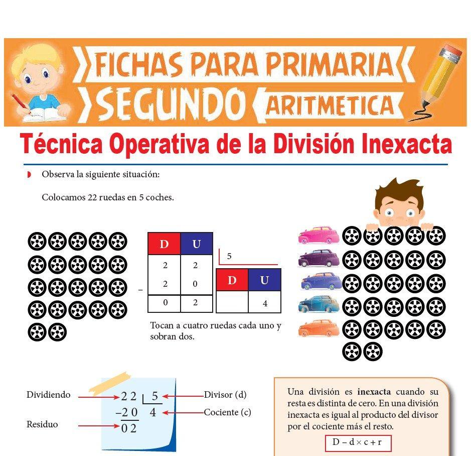 Ficha de Técnica Operativa de la División Inexacta para Segundo Grado de Primaria