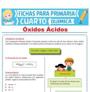 Ficha de Óxidos Ácidos para Cuarto Grado de Primaria