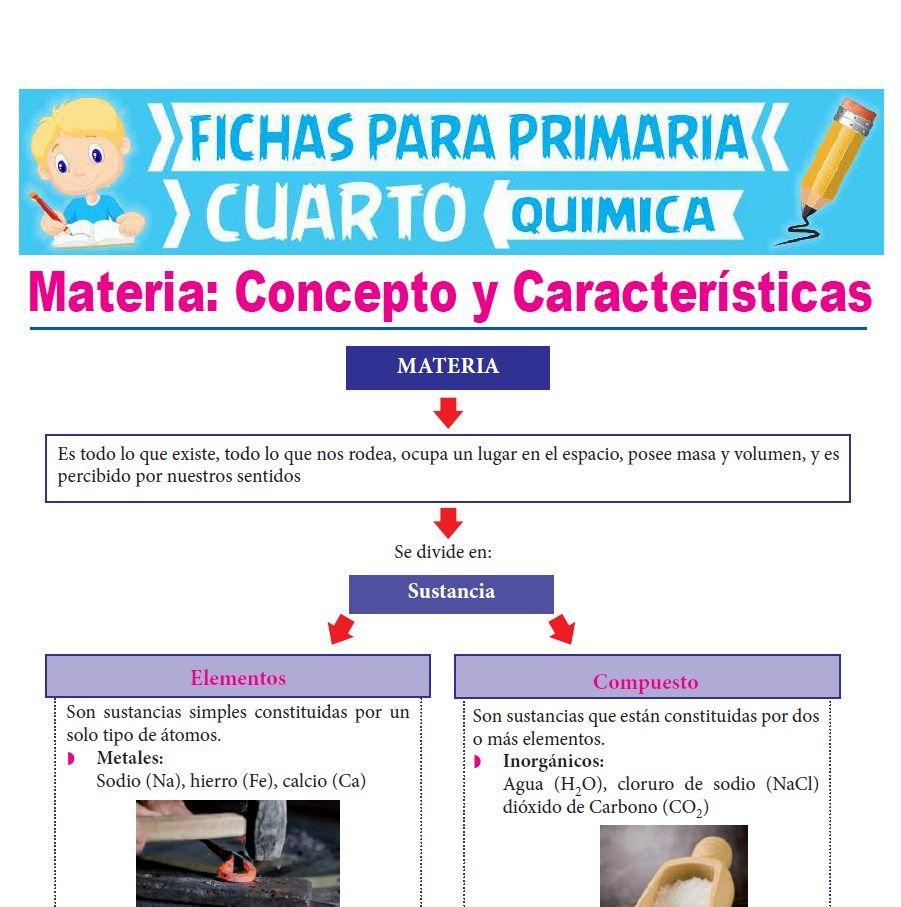 Ficha de Concepto de Materia para Cuarto Grado de Primaria