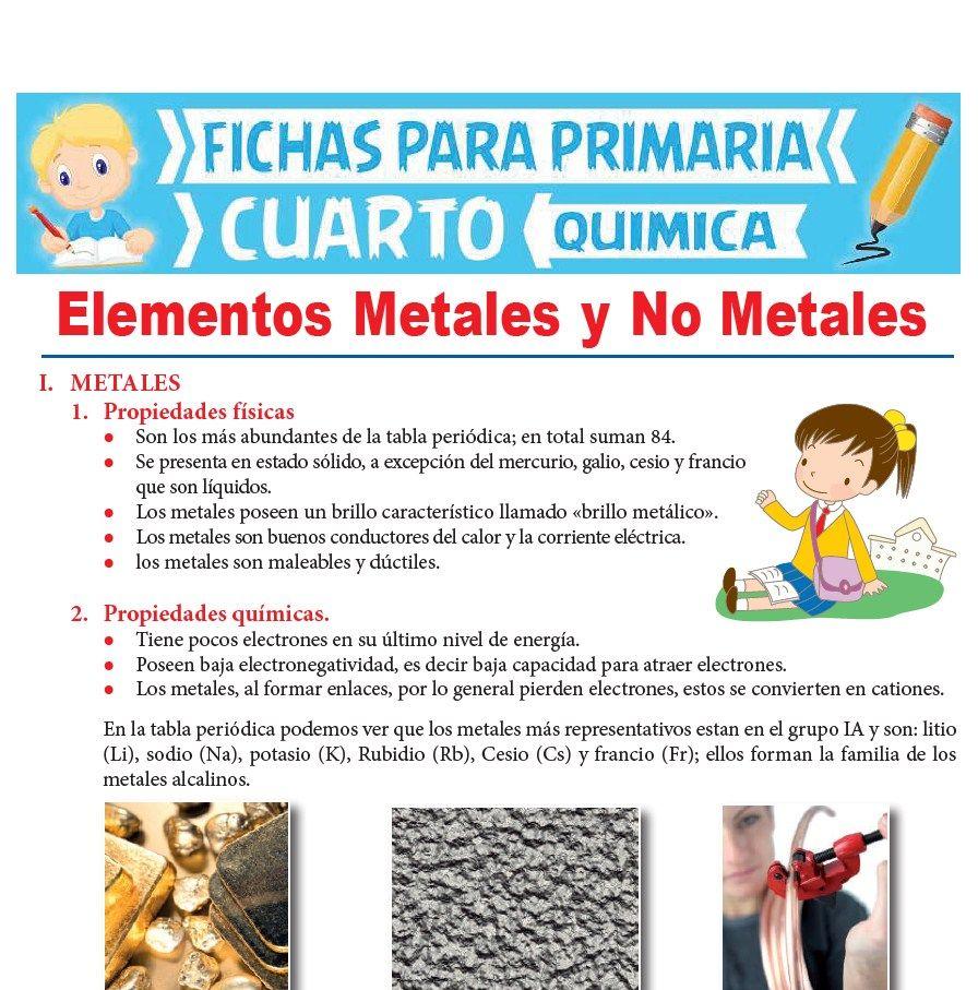 Ficha de Elementos Metales y No Metales para Cuarto Grado de Primaria