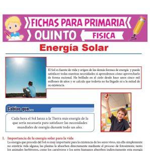 Ficha de Energía Solar para Quinto Grado de Primaria